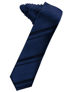 Peacock Striped Satin Skinny Necktie