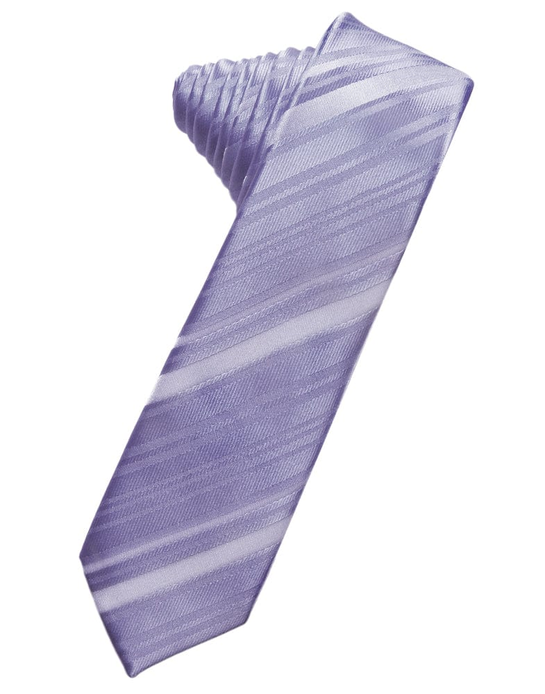 Periwinkle Striped Satin Skinny Necktie