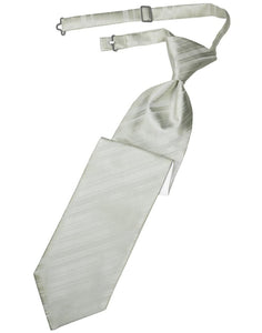 Platinum Striped Satin Kids Necktie