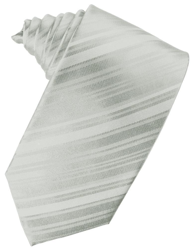 Platinum Striped Satin Necktie