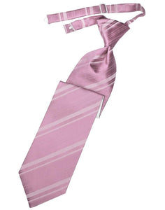 Rose Petal Striped Satin Kids Necktie