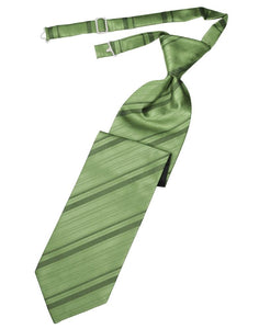 Sage Striped Satin Kids Necktie
