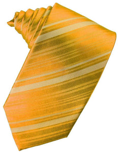 Tangerine Striped Satin Necktie