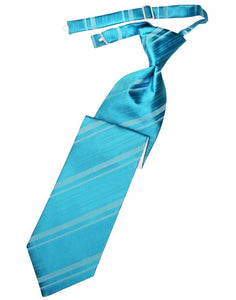 Turquoise Striped Satin Kids Necktie