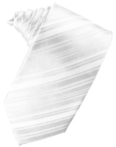 White Striped Satin Necktie