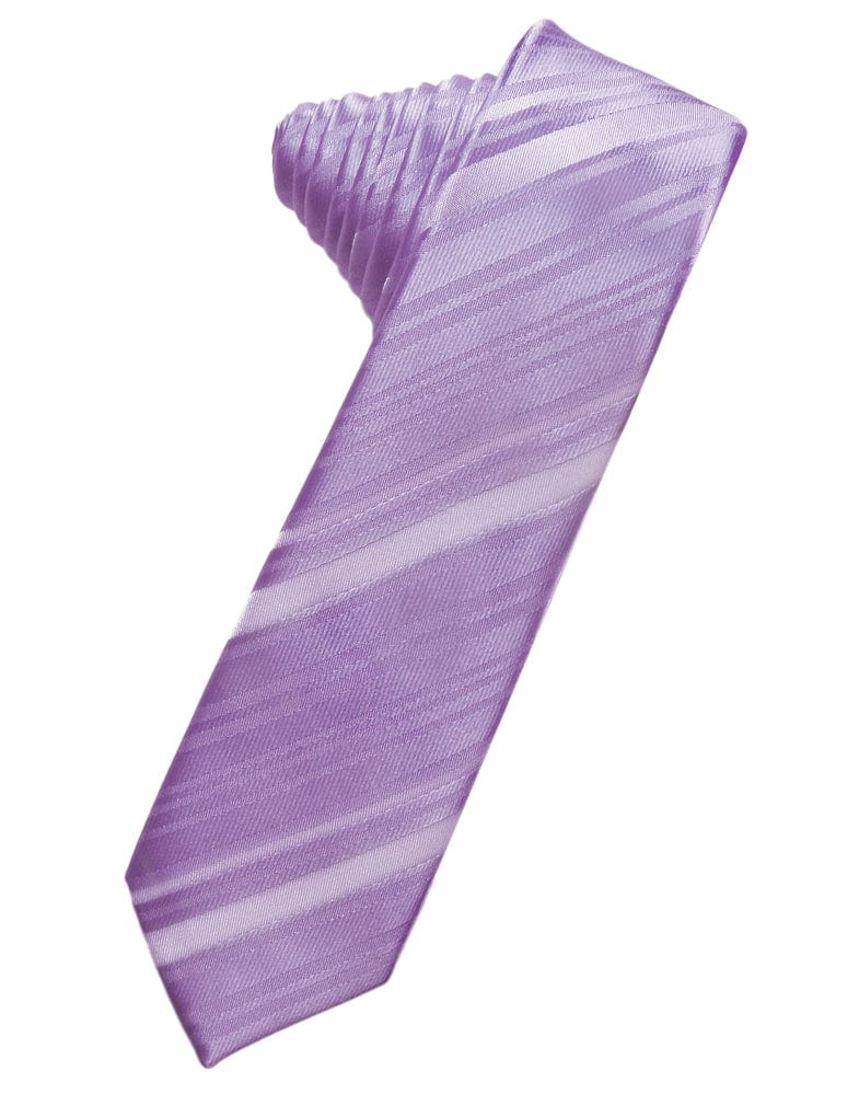 Wisteria Striped Satin Skinny Necktie
