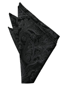 Black Paisley Silk Pocket Square