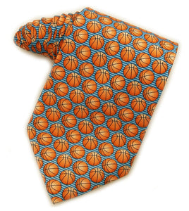 Basketballs Blue Tie