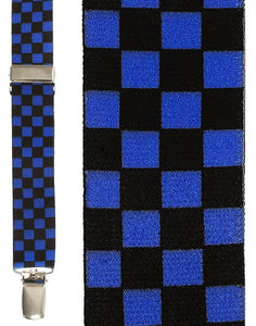 """Black & Blue Checkers"" Suspenders"