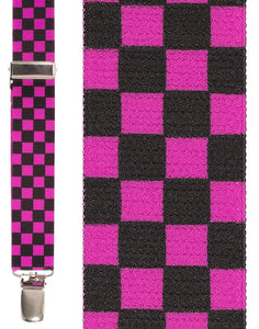 """Black & Hot Pink Checkers"" Suspenders"