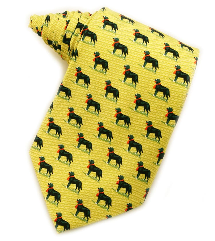 Black Labrador Retrievers Gold Tie