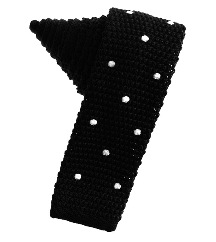 Black Knit Polka Dot Skinny Tie