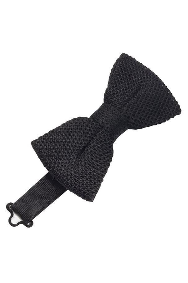 Black Silk Knit Bow Tie
