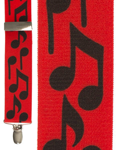 """Bold Notes Red"" Suspenders"