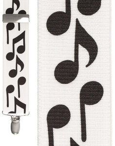 """Bold Notes White"" Suspenders"