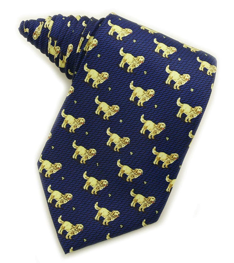 Golden Retrievers Navy Tie