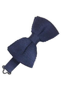 Navy Silk Knit Bow Tie