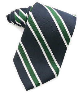 Repp Thin Stripe Navy & Green Tie