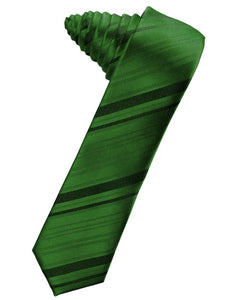 Clover Striped Satin Skinny Necktie