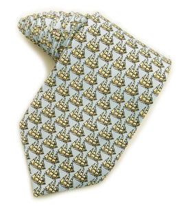 Tall Ships Light Blue Tie