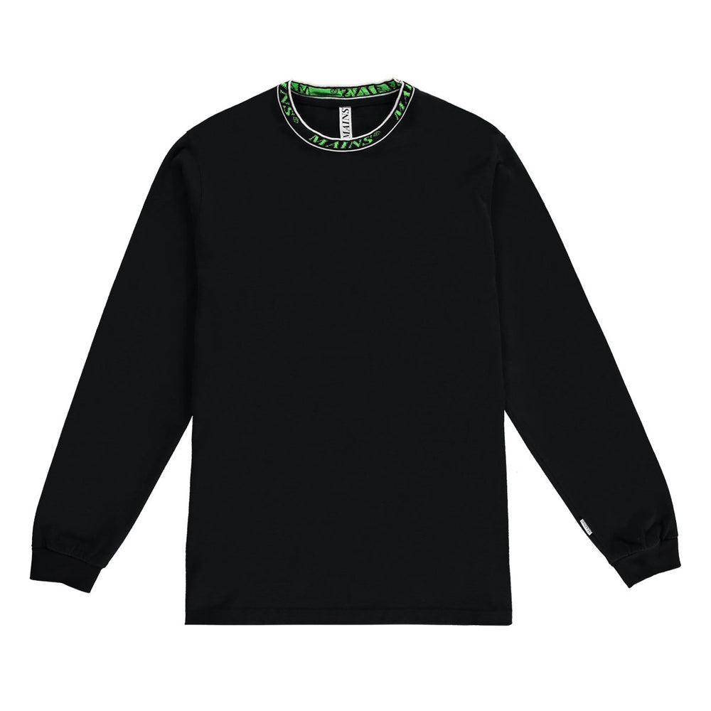 Contrast Collar Long Sleeve Tee - Black / Neon Green