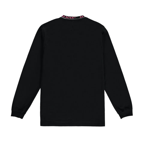 Contrast Collar Long Sleeve Tee - Black / Neon Pink
