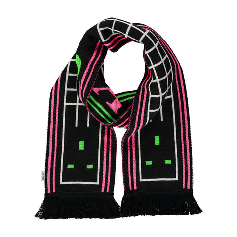 Football Scarf - Black / Neon Green & Pink