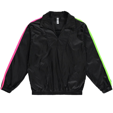 Nylon Drill Suit Top - Black / Neon Green and Neon Pink