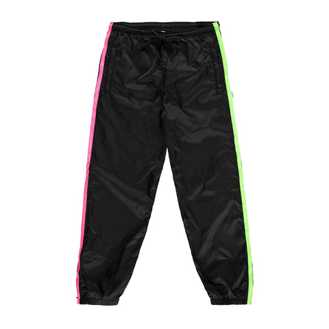 Nylon Drill Suit Bottom - Black / Neon Green and Neon Pink