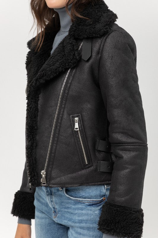 Cloud 9 Sherpa Suede Moto Jacket - Black