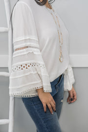 Sweet Talk Bell Sleeve Lace Trim Top