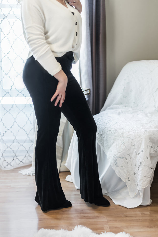 Wild + Free Velvet Flared High Waist Legging Pants
