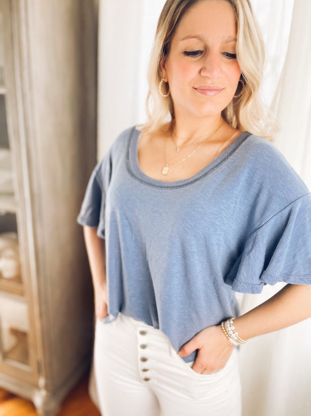 Bright Skies Blue Ruffle Sleeve Top