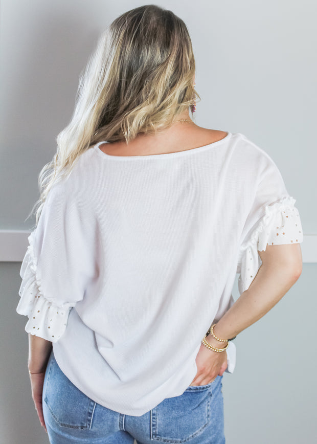 It's All In The Details Eyelet Ruched Top