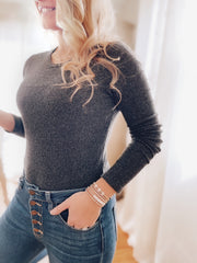Always a Winner Ribbed Top - Charcoal