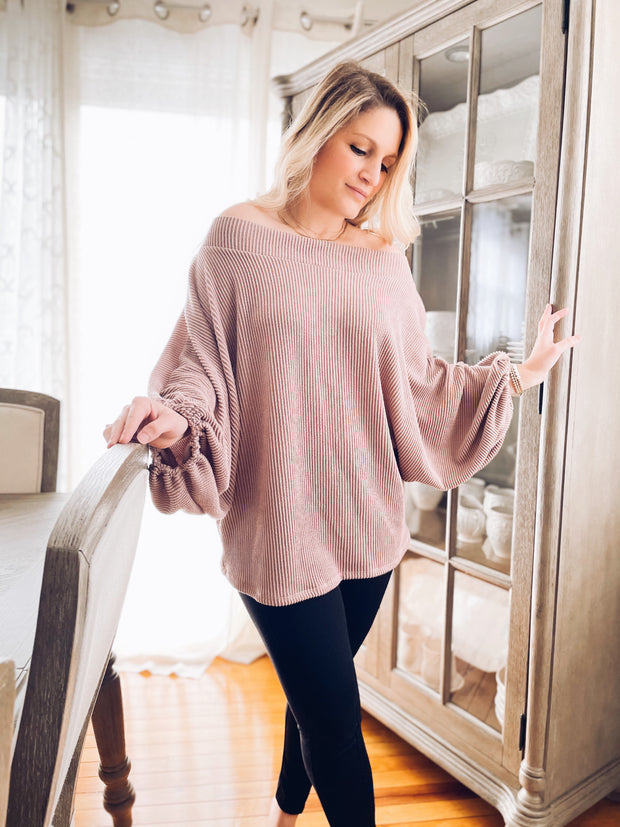 In Neutral Off the Shoulder Dolman Top