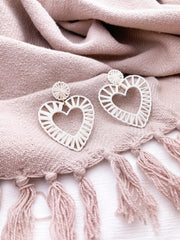 Crazy in Love Heart Rattan Earrings