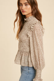 Wild For You Leopard Smocked Blouse