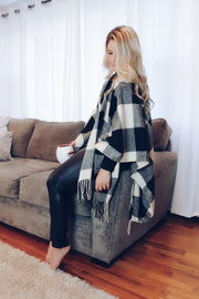 Throw On & Go Buffalo Plaid Poncho