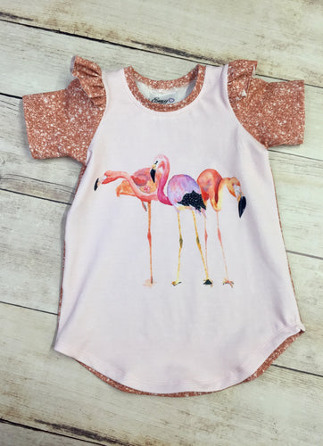 Water Color Flamingo Cotton Lycra Panel