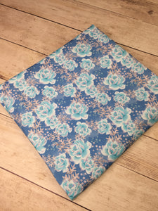 Clearance Cotton Lycra Winter Fairytale Blue Roses