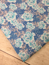 Load image into Gallery viewer, Clearance Heavy Weight Cotton Lycra Winter Fairytale Blue Roses