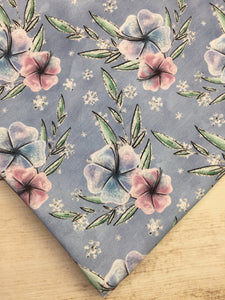 Clearance Cotton Spandex Periwinkle Winter Floral