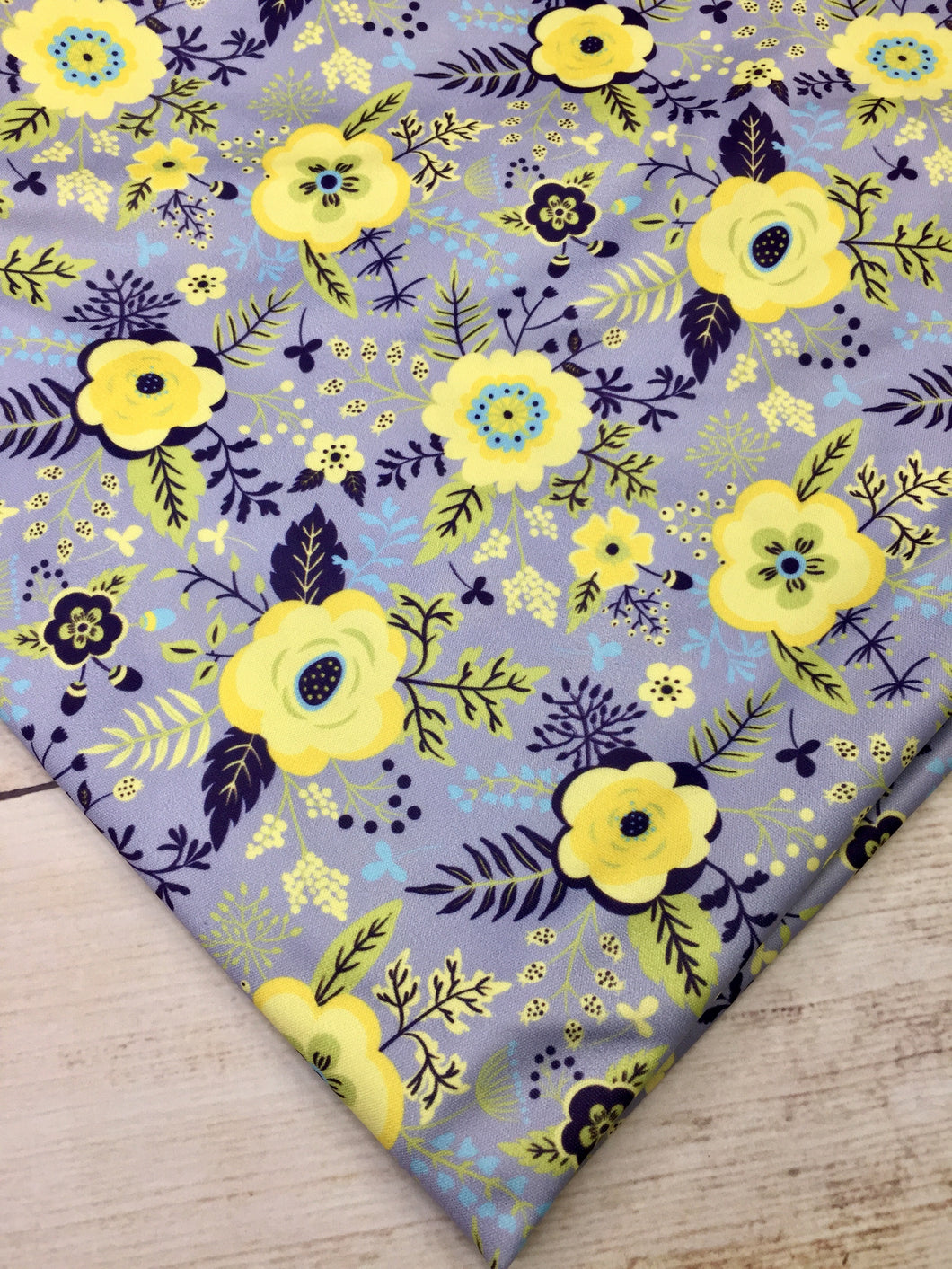 Yellow and Grey Floral Polyester Interlock