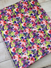 Load image into Gallery viewer, Water color Floral Fuchsia multi color Stretch Minky