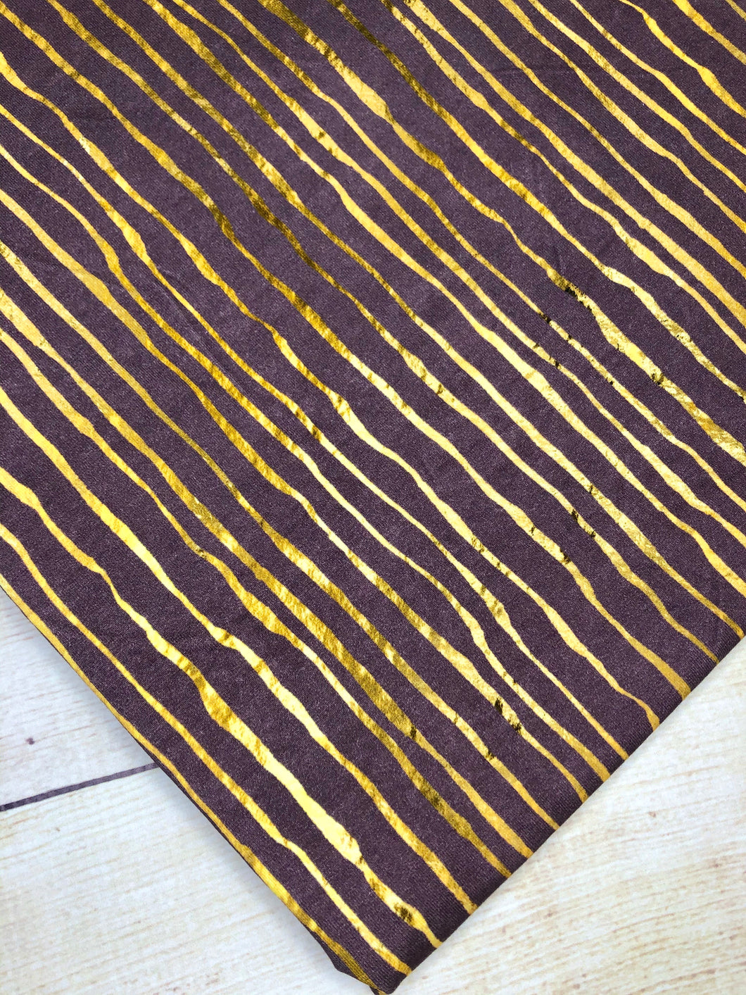 Purple and Gold Stripes Cotton Spandex