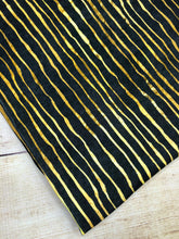Load image into Gallery viewer, Black and Gold Stripes Cotton Spandex