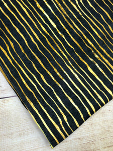 Black and Gold Stripes Cotton Spandex