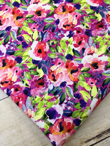 Water Color Floral Fuchsia Multi Color French Terry