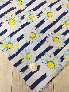 Clearance Cotton Spandex Water Color Daisys
